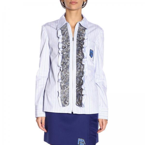 Camicia con zip in puro cotone a righe con logo Prada e rouches broccate