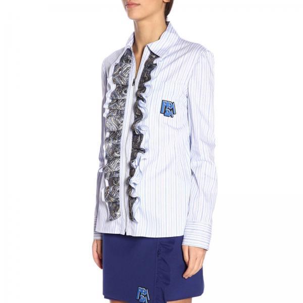 Righe Logo Prada In Puro Zip Camicia Con A Rouches Cotone E Broccate TFJKc1l3
