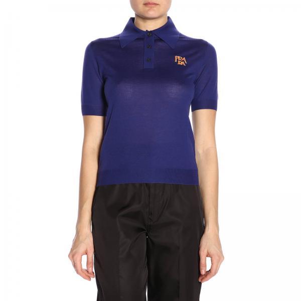 Polo a maniche corte in jersey con logo Prada