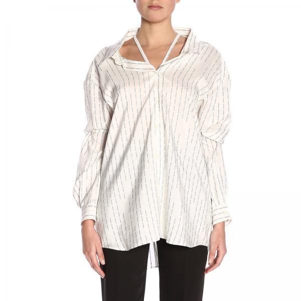 Camicia scomposta in seta con logo Prada all over