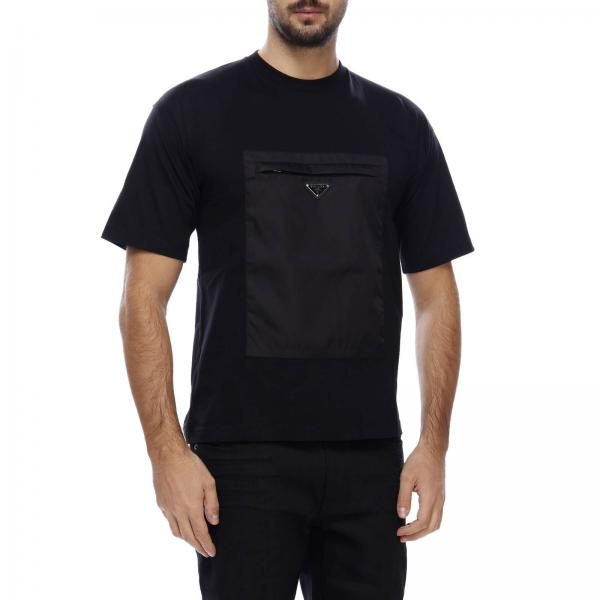 Con A Corte shirt Prada T Maniche Tasca In Nylon Basic 80OnPkXw