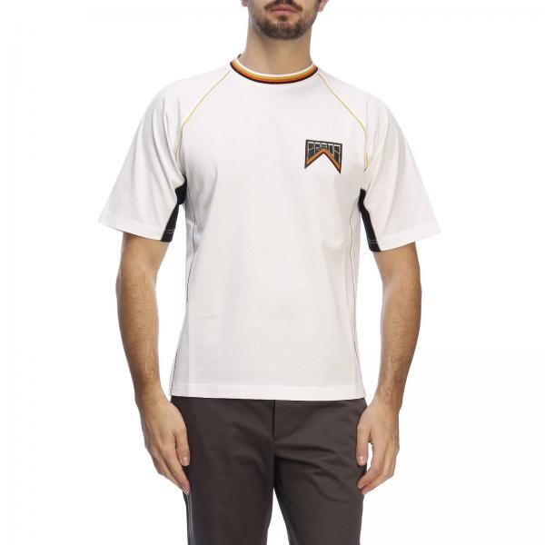 T-shirt a maniche corte con contrasti e logo Prada