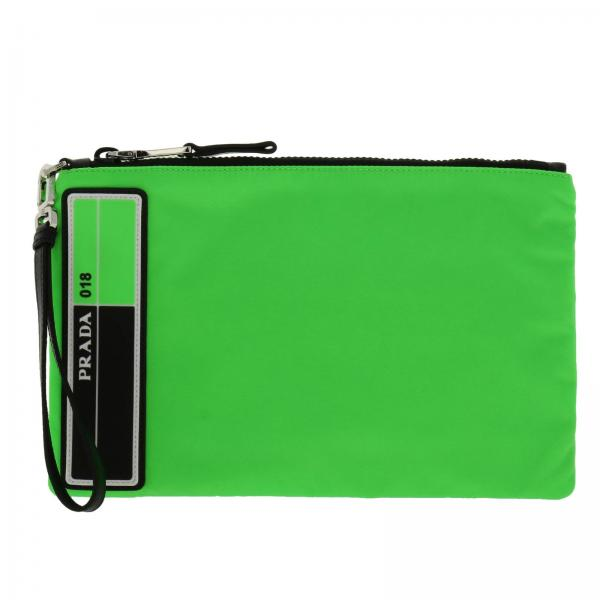 Pochette in nylon con maxi patch fluo in gomma by Prada