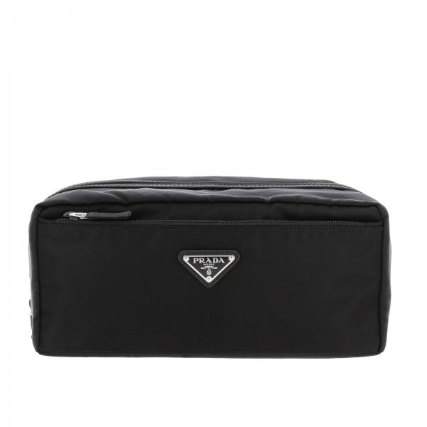 Beauty Case in nylon con logo triangolare Prada