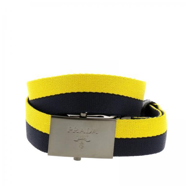 Cintura in nastro bicolor con maxi fibbia squadrata in metallo e logo Prada