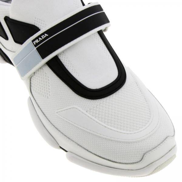 Sneakers Cloudbust Logo In Prada Nylon E Camoscio Vintage Con Stringata Gomma mN0wy8PvnO