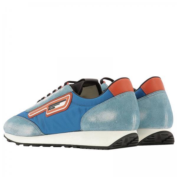 Logo E Con Nylon Milano 70 Prada Stringata Sneakers Camoscio Gomma In 0kXOP8wNn