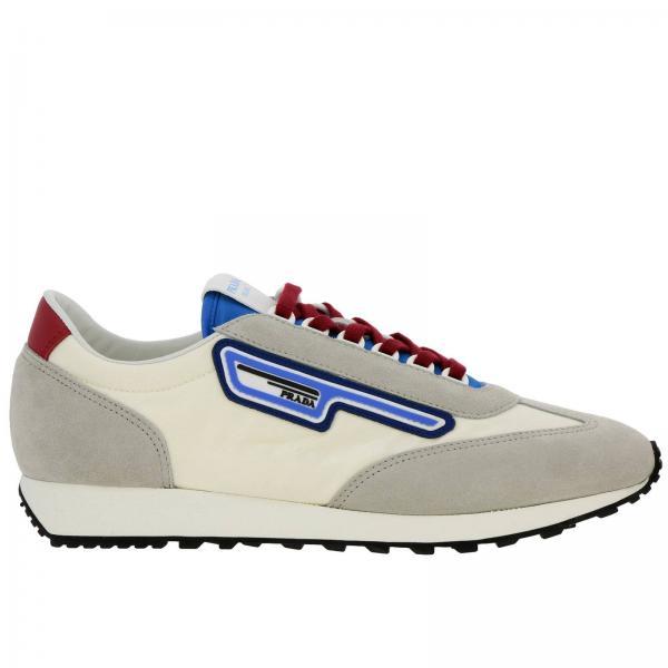 Sneakers Milano 70 stringata in nylon camoscio e gomma con logo Prada