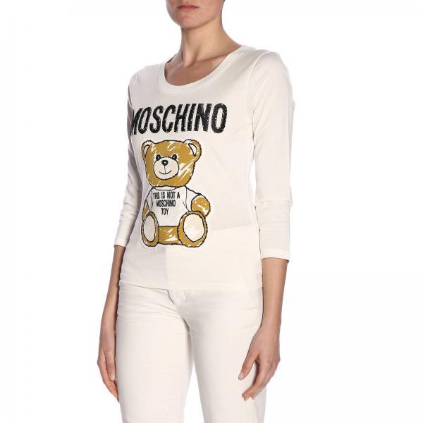 Con Teddy Maniche T Moschino shirt Lunghe Maxi Stampa A c4RSq3Aj5L