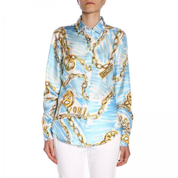 best sneakers 72fc1 094f5 Camicia moschino couture in twill di seta con stampa catene