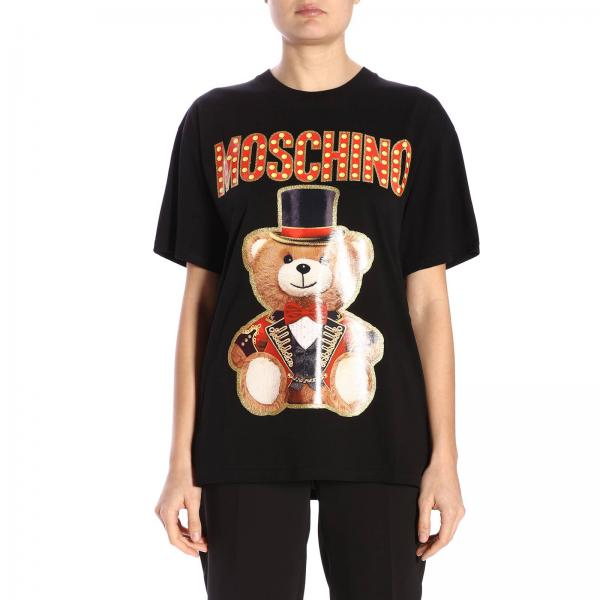 Con Maxi Corte Stampa Teddy T A shirt Moschino Maniche Circus SqzpUMV