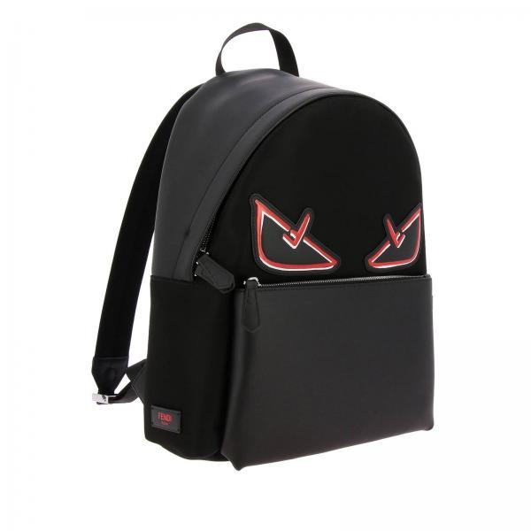 A72l Applicazione Pelle Devil Fendi Uomo Bag E Zaino 7vz042 NeroIn Con Bugs Eyes Nylon 8Nv0Omwn