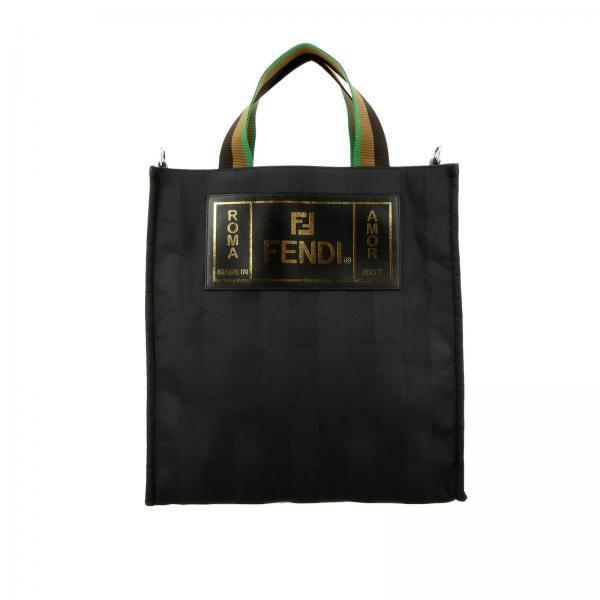 62a079b1ab Borsa Uomo Fendi Nero | Borsa Shopping Bag In Tessuto Jacquard ...