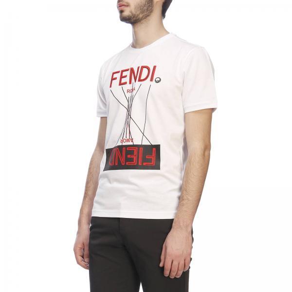 Con T Fendi A shirt E Corte Maxi Girocollo Maniche Stampa rBxodCe