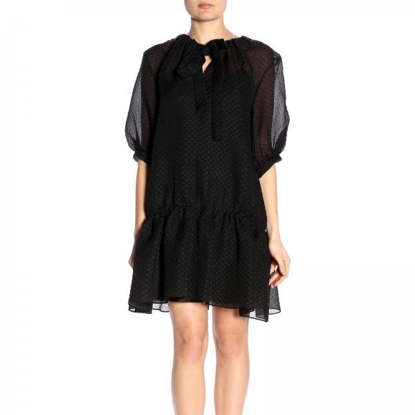 838giglio Boutique Primavera verano Negro Moschino Vestido 0408 Mujer 2019 w7xXqqSF