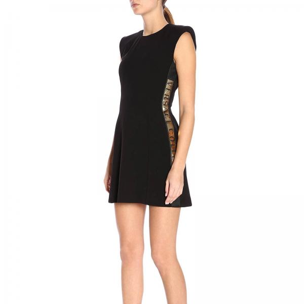Primavera Negro verano Collection G604492giglio G35937 2019 Mujer Versace Vestido H0FPtYP