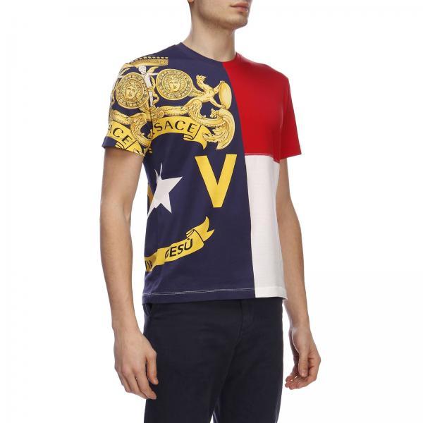 shirt Stampa T Corte Bandiera Versace Con Maxi A By Maniche v0mNnOw8