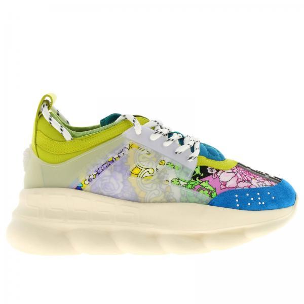 Sneakers chain reaction in pelle con stampa technicolor baroque e gomma con rifiniture by versace