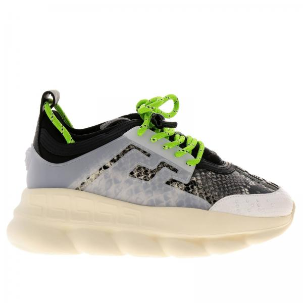 Sneakers chain reaction in pelle bicolor con stampa pitone e gomma con  rifiniture by versace