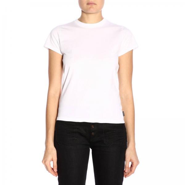 T-shirt a girocollo slim in jersey di cotone stretch con maxi stampa genere posteriore