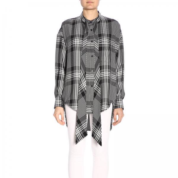 Camicia in seta over con logo Balenciaga
