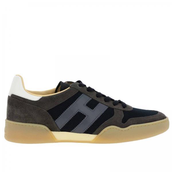 Sneakers 357 Sporty in camoscio e micro rete con big H in pelle