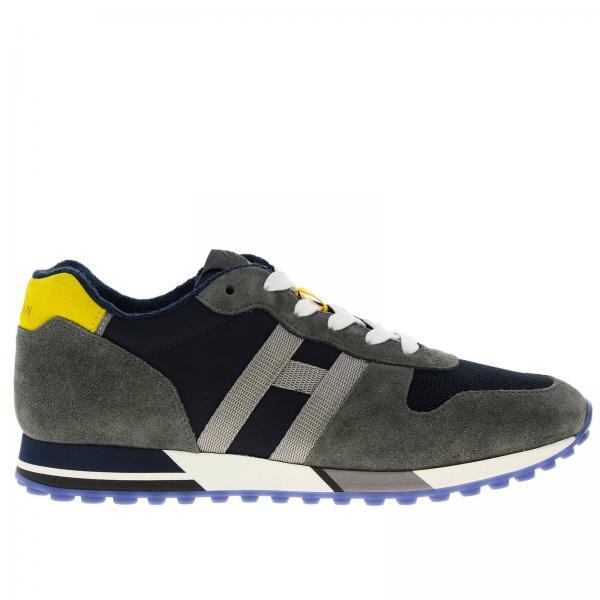 Sneakers 383 in camoscio nylon imbottito e micro rete con big H