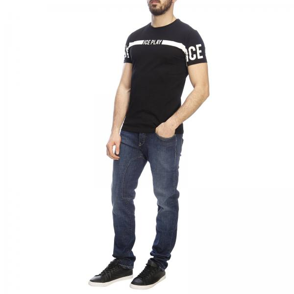 A Stretch Con T Basic Corte Stampa Ice Play Maxi Maniche shirt mOPyNw8n0v