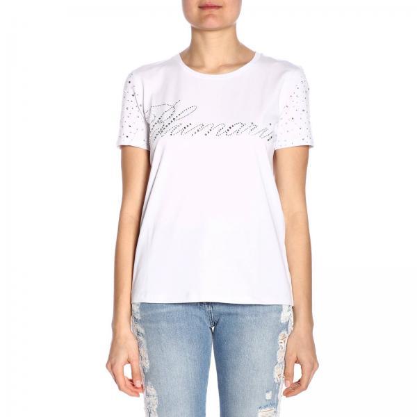 Strass Blumarine Con T shirt Di Corte Logo Maniche A Maxi iTPkZXOu