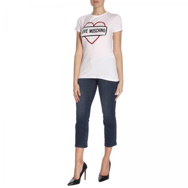 Love Maxi T Stampa Con A Corte Moschino Maniche shirt uT3F5cK1Jl