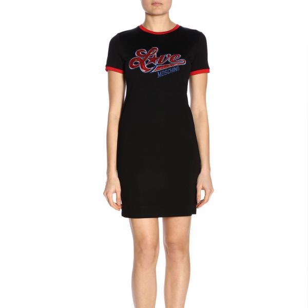 E Maxi A By Con Love Maniche shirt Abito Moschino T Logo Corte CshtdQr