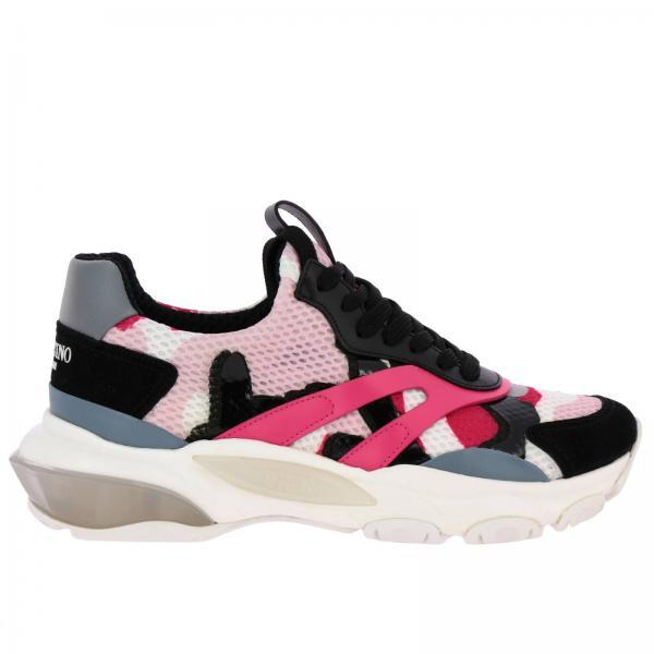Sneakers Bounce in pelle camoscio tricolor e micro rete con maxi suola in gomma