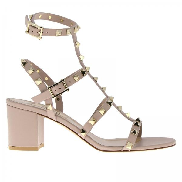 Valentino Rockstud Ankle Strap Sandals In Real Smooth Leather With Wide Heel by Valentino Garavani