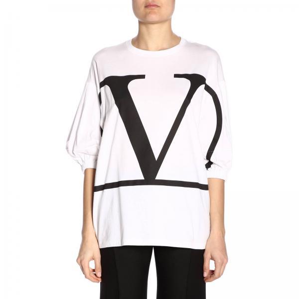 T ValentinoCon A Rb0mg01i Donna Logo shirt 4ld Stampa 3 4 Maniche V E Maxi K1FTJc3l