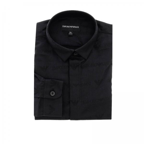 Camicia Emporio Armani in popeline con logo all over