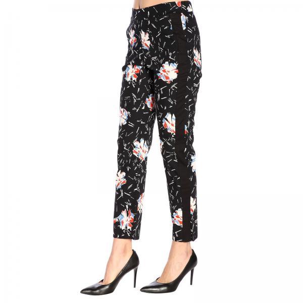Pantalone Stampa Popeline America Fiori Tasche SGVqzLMUp