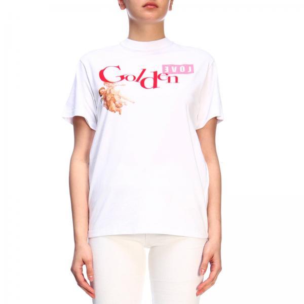 T-shirt a maniche corte con maxi stampa logo a contrasto