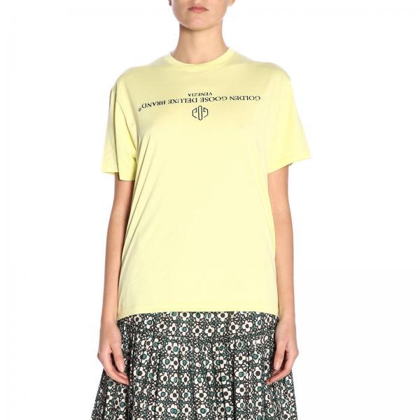 T-shirt a maniche corte con maxi logo in floccato a contrasto