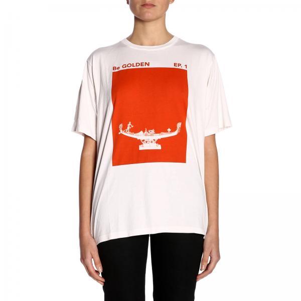 T-shirt a maniche corte con maxi stampa gommata e logo a contrasto