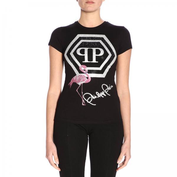Pjy002n shirt Donna PleinA Maniche Strass Con Wtk1251 Pp Philipp T Maxi Corte Monogramma Di E Fenicottero mv8Nn0wO