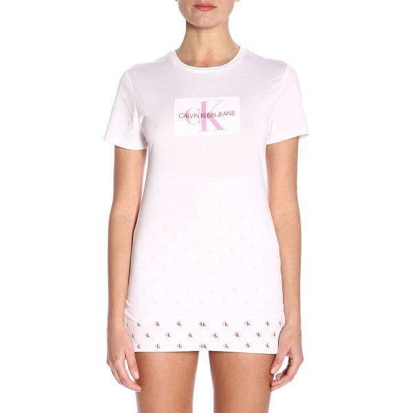 new concept b1e40 f1d13 T-shirt a maniche corte con stampa logo ckj in floccato