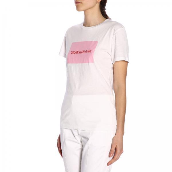 Stampa shirt Ckj A Maxi Logo Corte T Maniche Con EWDY9eH2I