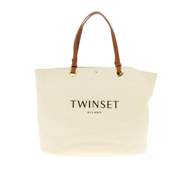 4218b6461f Borsa a spalla Donna Twin Set | Borsa Twin-set Shopping Bag In Canvas Con  Stampa Logo | Borsa A Spalla Twin Set 191to8202 - Giglio IT
