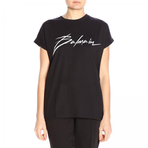 T-shirt a maniche corte con maxi firma Balmain