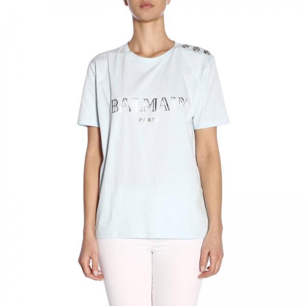 T-shirt a girocollo con maxi stampa Balmain Paris e bottoni