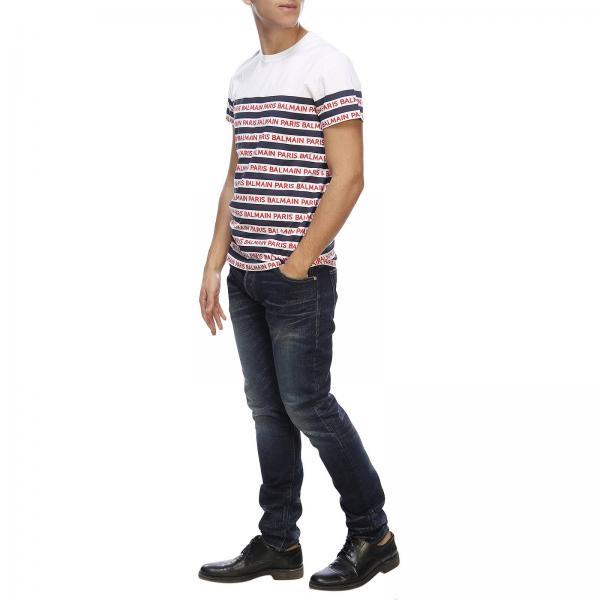 Paris T All Uomo Corte shirt Rh01601i103 BalmainA Stampa Maxi Con Righe Maniche Over 0nwm8OvN