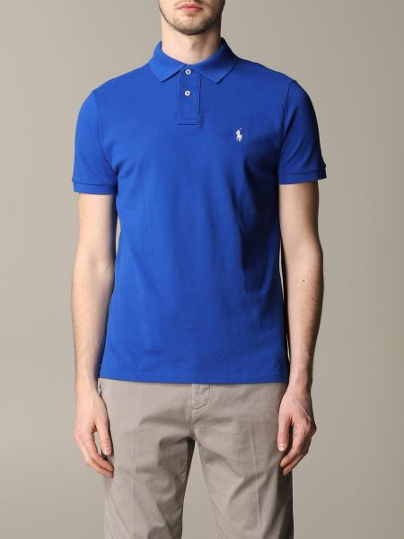 Short-sleeved polo shirt in honeycomb cotton with embroidered Polo Ralph Lauren logo