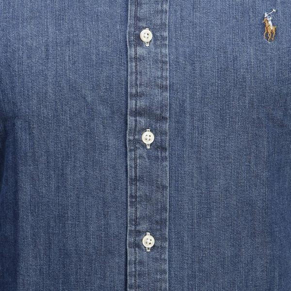 Slim Down Lauren Camicia E Logo Ralph Collo Chambray Fit Con Button Polo rQEoCxBedW
