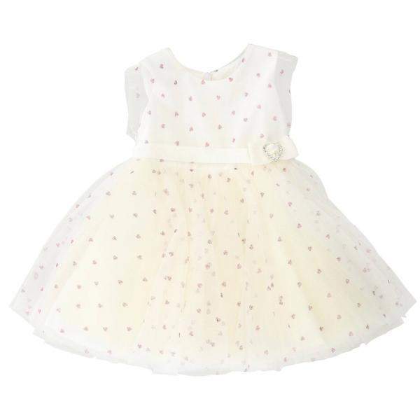 pretty nice c5ec2 3153c Abito monnalisa bebé in tulle con cuori glitter e cintura