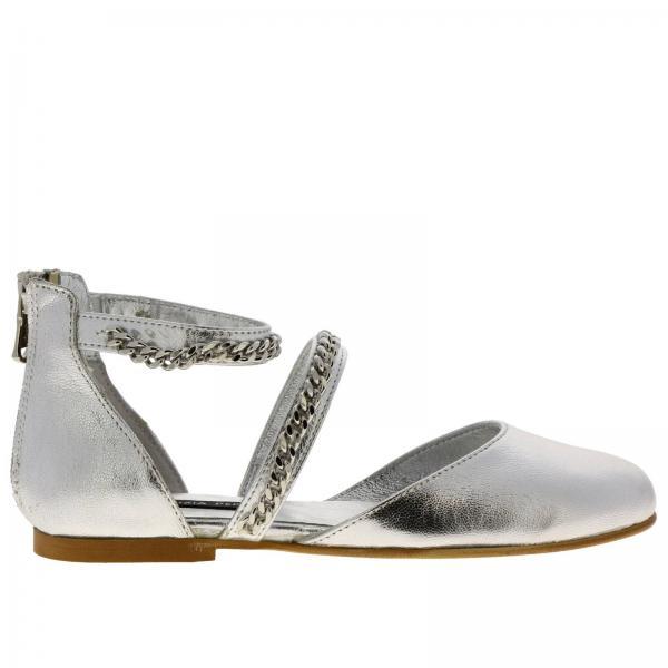 best sneakers 8d0ec 67bd1 Ballerina patrizia pepe in pelle laminata con micro catene e zip